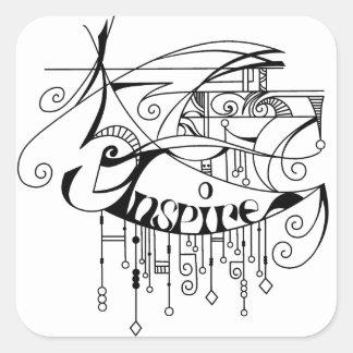 Black Inspire In Lines and Dangles Square Sticker