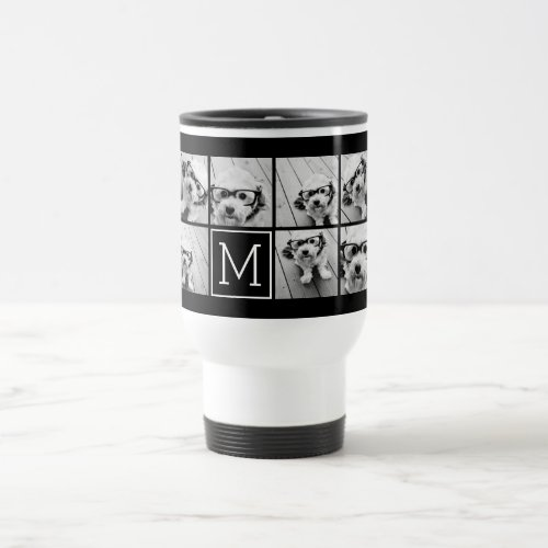 Black Instagram Photo Collage Custom Monogram Travel Mug