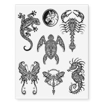 Black Intricate Tribal Animals Collection Temporary Tattoos