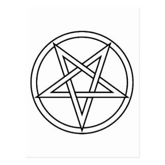 Black Inverted Pentacle Postcard