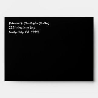 Black Invitation Envelopes Gold and Black Damask