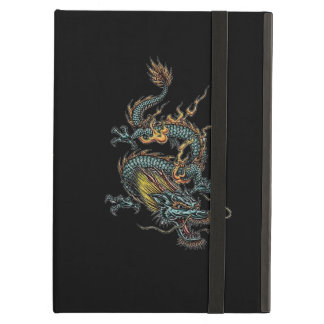 Black iPad Case with Blue Dragon