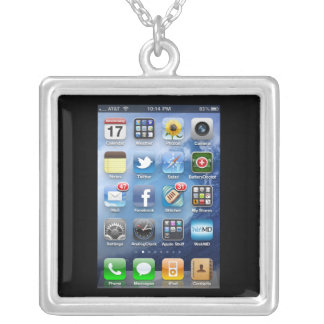 Black iPhone 4 Silver Plated Necklace
