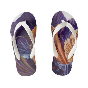 Beach Themed Black Iris Kid's Flip Flops