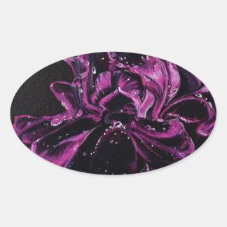 Black Iris Oval Sticker
