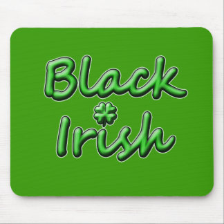 Black Irish in Breezy Green Font Mouse Pads