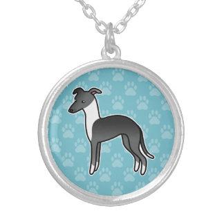 Black Irish Italian Greyhound Cartoon Dog Round Pendant Necklace