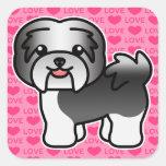 Black Irish Pied Cartoon Havanese Love Square Sticker