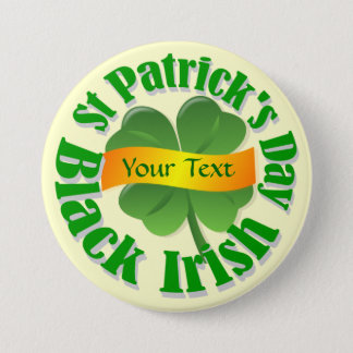 Black Irish shamrock St Patrick's Button
