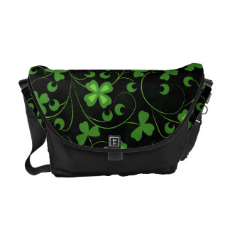 Black Irish Shamrocks Courier Bag