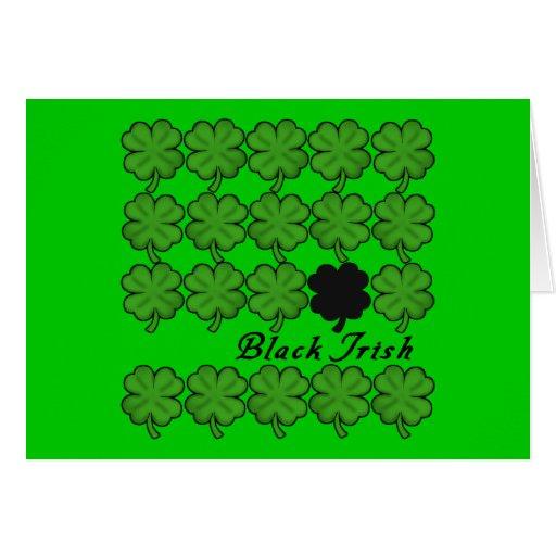 Black Irish With Lots of Shamrocks Card