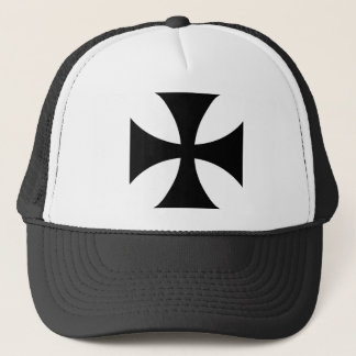 Black iron cross trucker hat