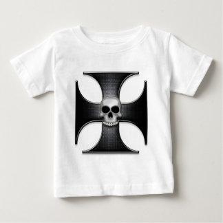 Black Iron Cross with Skull Baby T-Shirt