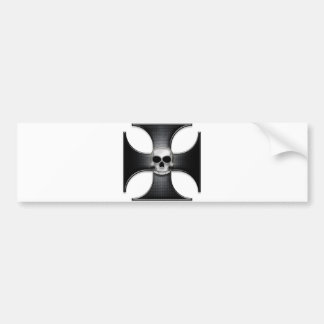 Black Iron Cross with Skull Car Bumper Sticker