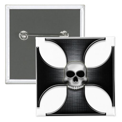 Black Iron Cross with Skull Button