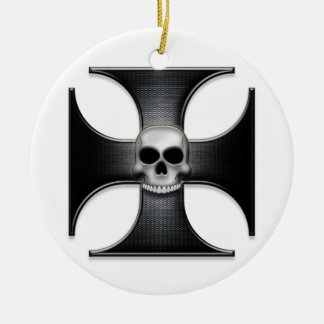 Black Iron Cross with Skull Ceramic Ornament