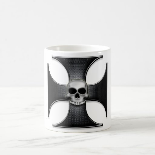 Black Iron Cross with Skull Classic White Coffee Mug