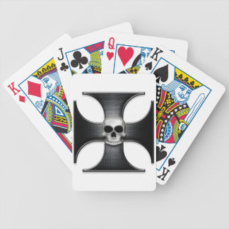 Black Iron Cross with Skull Bicycle Card Deck
