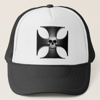 Black Iron Cross with Skull Trucker Hat