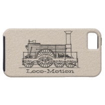 "Black ""Iron Horse"" Train Print 2 on Leather iPhone SE/5/5s Case"