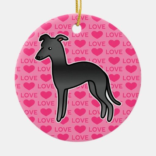 Black Italian Greyhound Love Ornament