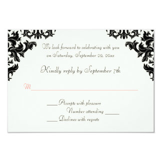 Black, Ivory, and Coral Damask RSVP Card