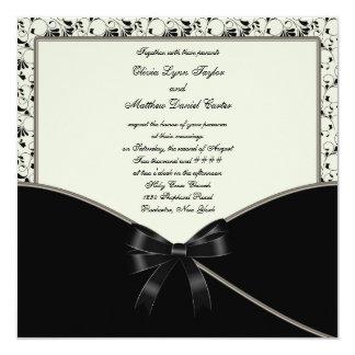 Black Ivory Cream Damask Wedding Card