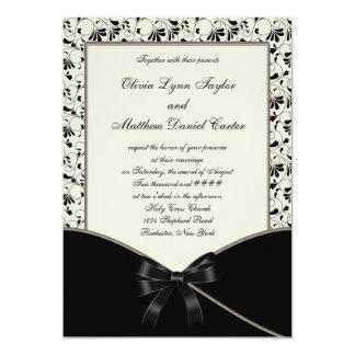 Black Ivory Cream Damask Wedding Custom Invite