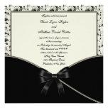 Black Ivory Cream Damask Wedding Invites