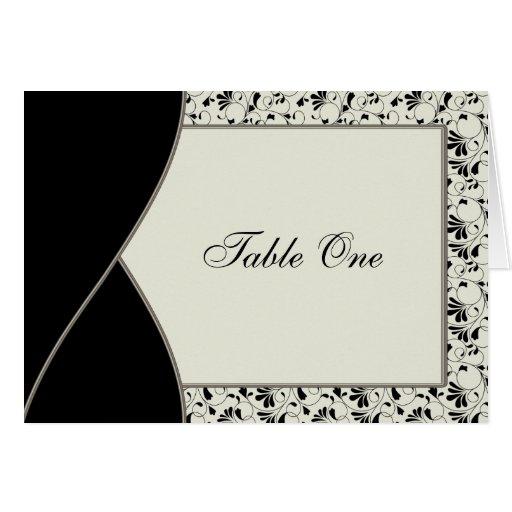 Black Ivory Cream Damask Wedding Table Card