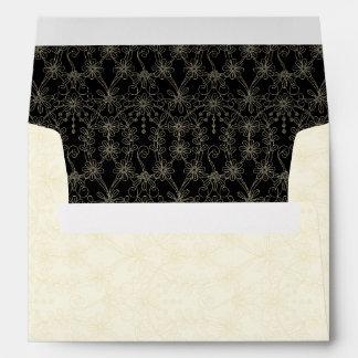 Black Ivory Gold Daisy Floral A7 Wedding Envelope