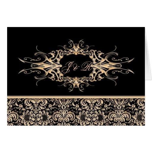 Black & Ivory Ornate damask Wedding set Card