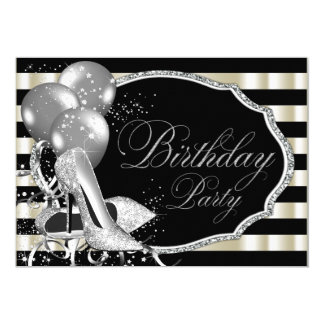 Black Ivory Silver High Heel Shoe Birthday Party 5x7 Paper Invitation Card