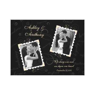 Black Ivory Wedding Photo Wrapped Canvas Print by wasootch