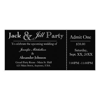 Black Jack and Jill Shower Ticket Invitation Rack Card