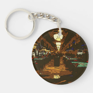 Black Jack and Poker Tables in Las Vegas Double-Sided Round Acrylic Keychain