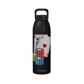 Black Jack Cards With Poker Chips Reusable Water Bottle