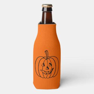Black Jack-O-Lantern Outline on Orange Bottle Cooler