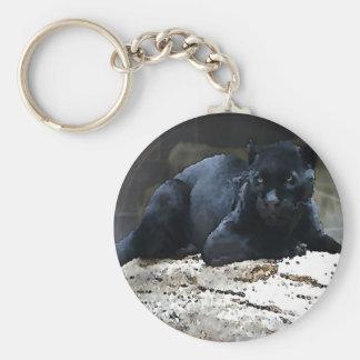 Black Jaguar Basic Round Button Keychain