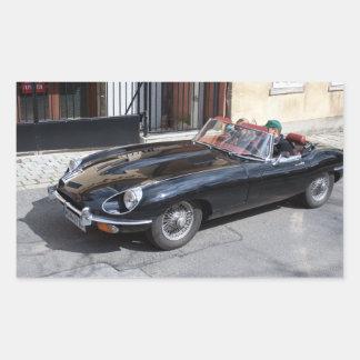 Black Jaguar E Type Rectangle Sticker