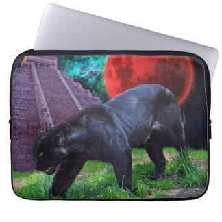 Black Jaguar & Mayan Temple Fantasy Laptop Sleeve