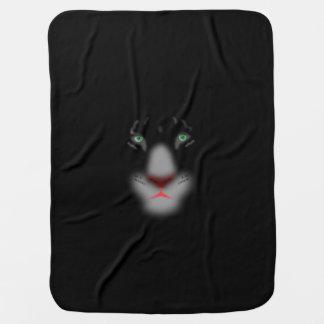 Black Jaguar or panther Big Cat Face Receiving Blanket