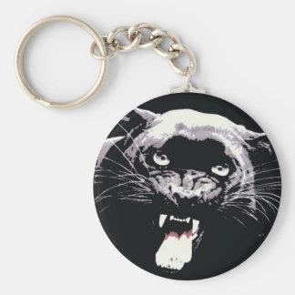Black Jaguar Panther Basic Round Button Keychain