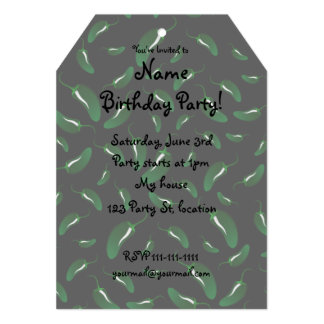 Black jalapeno peppers pattern 5x7 paper invitation card