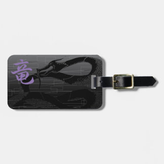 Black Japanese Dragon Gray Background Luggage Tag