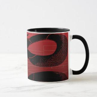 Black Japanese Dragon Red Background Mug