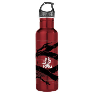 Black Japanese Dragon Red Background Water Bottle