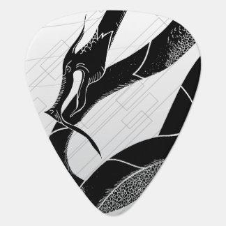 Black Japanese Dragon White Background Guitar Pick