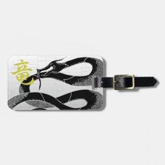 Black Japanese Dragon White Background Luggage Tag