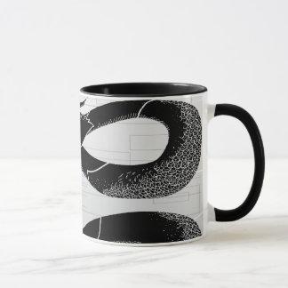 Black Japanese Dragon White Background Mug